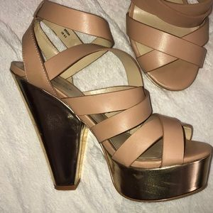 Tan and gold chunky heels